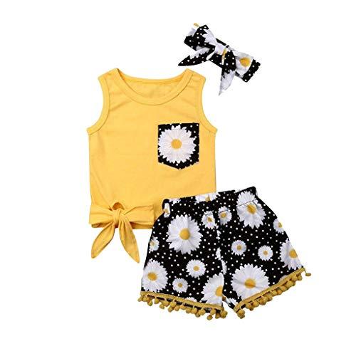 LEXUPE Kleinkind Baby Kinder Mädchen Bogen Blumen Weste Tops Shorts Haarband Set Kleidung(Gelb,80)