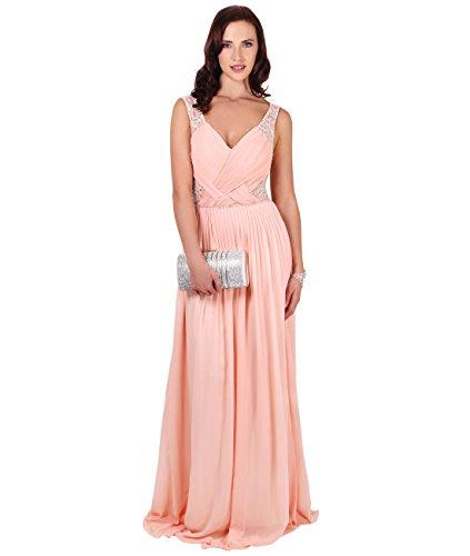 KRISP® Femmes Robes de Soirée Maxi Longue Elégantes en Mousseline Différents Modèles Pêche (Moiré)