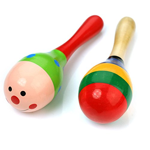 Baby Station Colorful Wooden Ball Toy Sand Hammer Rattle Musical Instrument Percussion (2 Pack)
