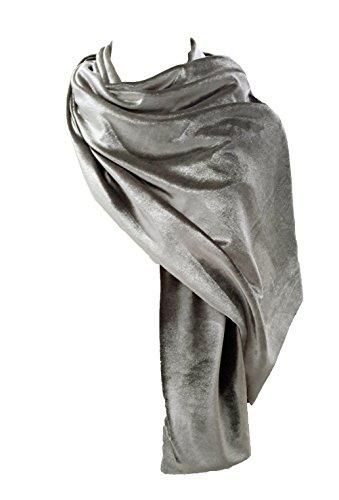 Brandelia velvet stole silver grey d'argento donne eleganti scialle complemento ideale per il vestito da partito e vestiti. silver grey