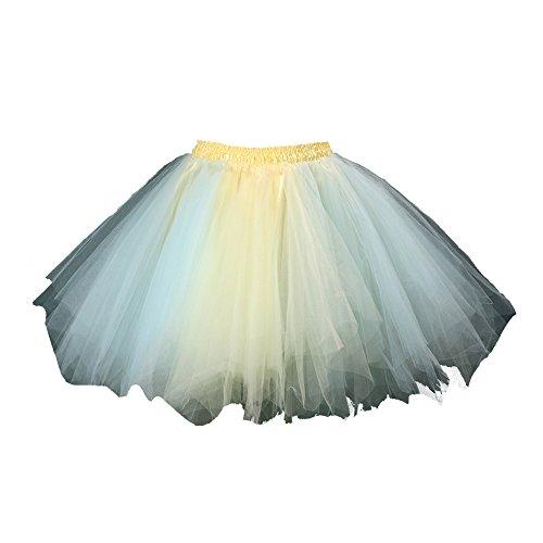 Honeystore Damen's Tutu Unterkleid Rock Abschlussball Abend Gelegenheit Zubehör Blau und Gelb ()
