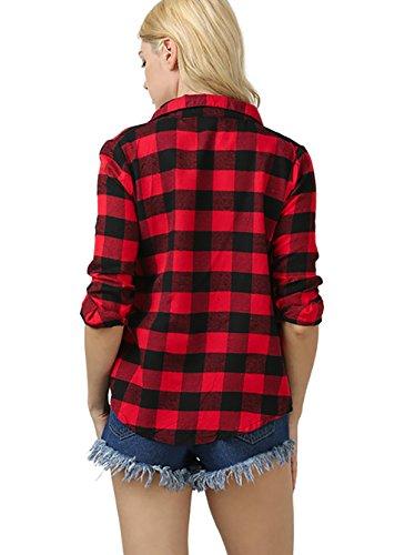 Camicia Donna Invernali Quadretti T Shirt Manica Lunga Polo Aderente Maglietta Casual Felpe Elastico Revers Top Rossi Nero Giovane Moda Rossi