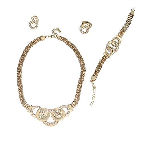 Trendy Modeschmuck (LUFA Übertriebene große Choker Trendy Runde Form Halskette Armband Ohrring Ring)