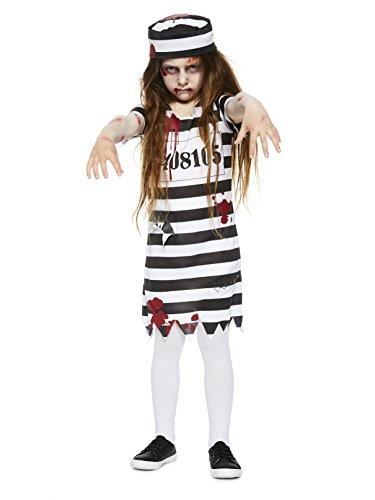 Amscan Zombie-Gefangene Kostüm für Mädchen Halloween schwarz-Weiss 134/140 -