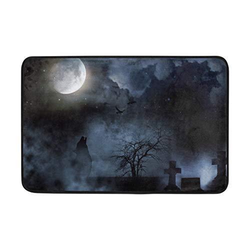 Zhengzho Halloween-Nachtmond-Wolf-Baum Fußmatte Eingangsmatte Bodenmatte Teppich rutschfeste weiche saugfähige Badezimmermatte Küchenteppich 40x60 cm