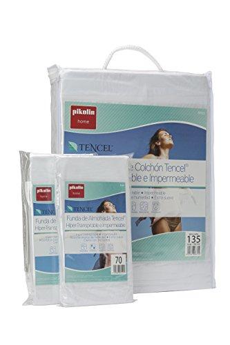 Pikolin Home - Set híper-transpirable e impermeable con protector de colchón (150 x 190/200 cm) y dos fundas de almohada (40 x 75 cm), color blanco
