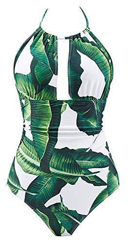 B2prity Damen Badeanzug Retro Tief V Ausschnitt Rückenfrei Neckholder Bauchweg Monokini Bademode (Druckblume 19, XL (EU 40-42))