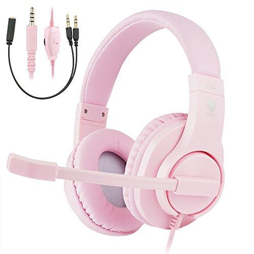 Samoleus Gaming Headset mit Mikrofon, Wired Kopfhörer Over Ear Surround Kopfhörer mit 3,5mm Klinkenanschluss für Mobile Phone, PC, Xbox One, PS4, N Switch (Rosa - Xbox One)