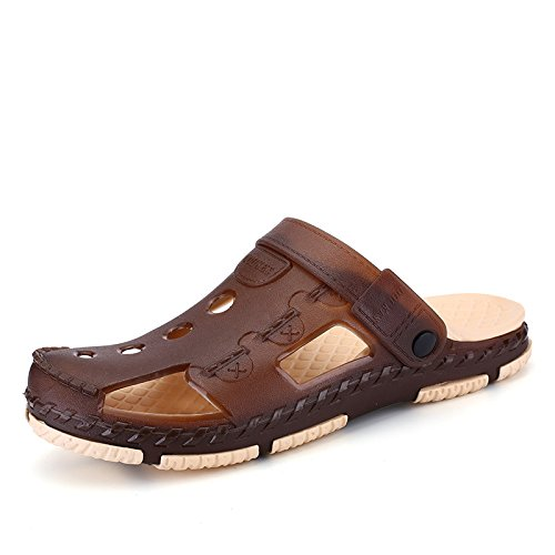 Del Congelada Sandalias Lin Baotou De Xing Agujero Transpirable Playa Zapatos Del Hombre Marrón Jardín Verano Antideslizante Hombre 8RgRf