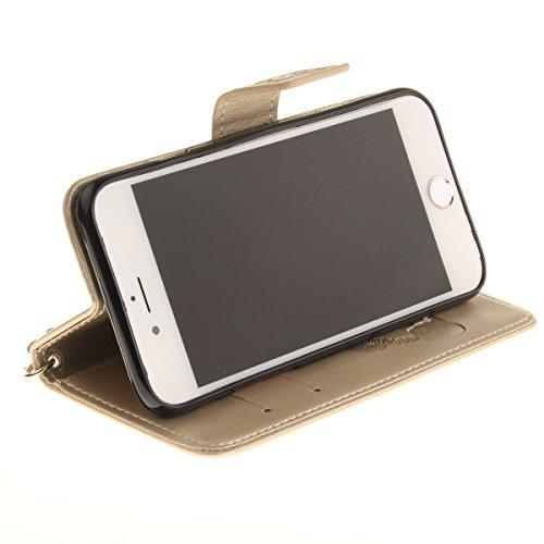 Custodia iPhone 7,SainCat Custodia in Pelle Cover per iPhone 7,Anti-Scratch Protettiva Caso Elegante Creativa Dipinto Pattern Design PU Leather Flip Ultra Slim Sottile Morbida Portafoglio Custodia Lib doro