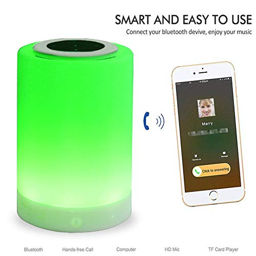 Rfsbqlcs Bluetooth-Lautsprecher-Lampe, tragbare Nachttischlampe mit Wireless Touch dimmbaren Tisch Nachtlicht mit TF-Karte Freisprecheinrichtung Geschenk für Frauen Männer Teens Kinder
