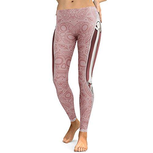 DioKlen Leggings para mujer, diseño de calavera, con estampado 3D de camuflaje, leggins de fitness, pantalones elásticos, pantalones y legins [KDK75002 S]