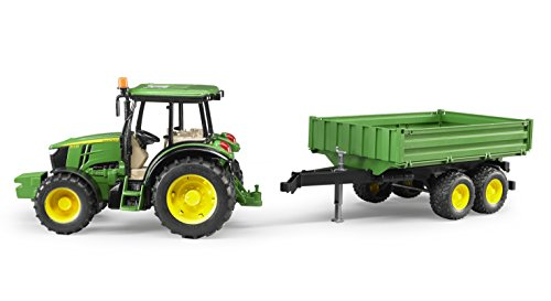 Image of Bruder John Deere 5115M Toy Tractor and Tipping Trailer