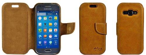 Akira Handmade Original PREMIUM QUALITÀ PELLE VERA Wallet Case per Samsung Galaxy ACE 3 GT-S7275 Rosolare