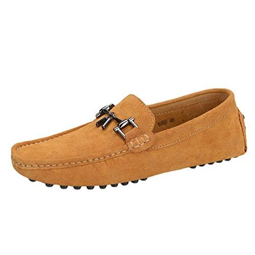 Baymate Homme Confort Mocassines Chaussures de Conduite Avec La Semelle Antidérapant Brun
