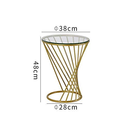 DEO Table d'appoint de table d'appoint Table d'appoint ronde en métal avec plateau en verre 3 couleurs (Couleur : Or, taille : 38 * 48CM)