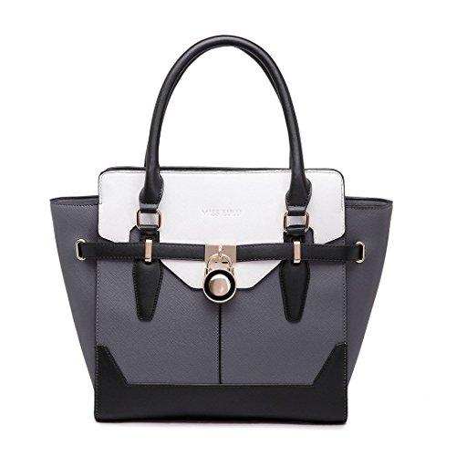 Miss Lulu Gorgeous George Designer Handtaschen inspiriert Einkaufstasche Vorhängeschloss Faux Leder Umhängetaschen, Mehrfarbig - Gray-White - Größe: (Inspiriert Faux Leder)