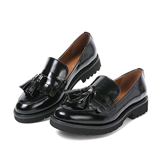 Damen Mokassin Loafers Flat Tassel frauen Schwarz Halbschuhe keilabsatz pumps Schuhe leder Niedriger Absatz Dicke Sohle breite schuhe (39, Schwarz Tassel) (Schwarze Loafer)