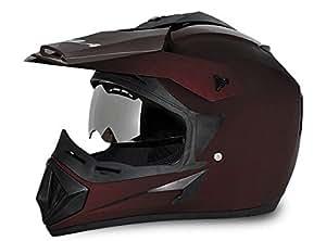 Vega Off Road Full Face Helmet (Dull Burgundy, S)