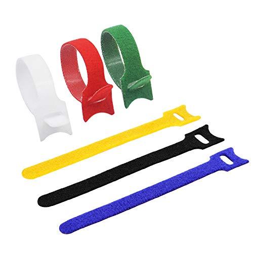 iitrust 60X Wiederverwendbare Kabelbinder, Bunt Klettverschluss Klettbänder 150 x 12mm (Rot, Gelb, Blau, Grün Weiß und Schwarz) (Schwarze Kabelbinder Weich)