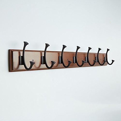 LXLA- Crochet mural en bois double Crochet mural pour vêtements Vêtements suspendus (Disponible 4,5,6,7,8 Crochets, 48,4/61,2/74/86,8/99,6 × 8 cm) (taille : 7 hooks)