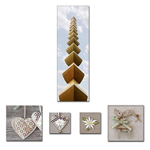 Preisvergleich Produktbild Eco Light Art Wand Leinwand Bundle Exquisite Endless Spalte Brancusi 40 x 119,9 cm für Home Décor und Lovely Rustikal Collage Set von 4 Artwork modernen gerahmt