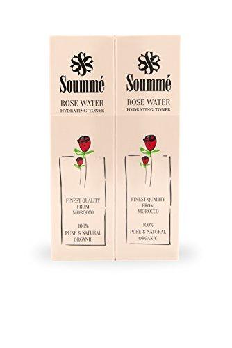 Soummé Rosenwasser aus Marokko - Gesichtspflege, 100 % biologisch, organisch und natürlich - 2 x 60 ml Pump Spray - BF Packung (ganze 120ml) gegen unreine Haut, reinigend, pflegend und feuchtigkeitsspendend auf natürlicher Basis (Nur Rosenwasser und Naturkosmetik, vegan und bio-zertifiziert, schonend zur Haut), als Grundlage für Make-Up, zur Erfrischung im Sommer, für einen frischen strahlenden Teint