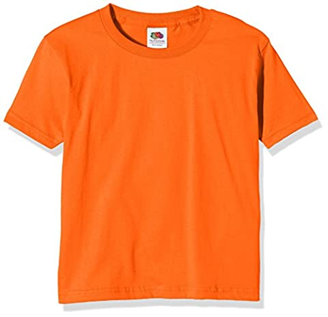 Fruit of the Loom SS124B, T-Shirt Garçon, Orange, 5-6 Ans