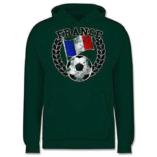EM 2016 - Frankreich - France Flagge & Fußball Vintage - Männer Premium Kapuzenpullover / Hoodie Dunkelgrün