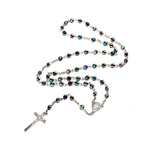bodya Bling Bling en cristal bleu?Collier Femme?Perles Rosaire Catholique Sainte du sol Médaille Prière Crucifix femmes bijoux