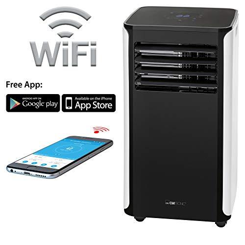 Clatronic CL 3716 Mobiles WiFi-Klimagerät, EEK A, Kühlleistung 9000 BTU, bis zu 400 m³/h Luftumwälzung, mit kostenloser App-Zusatzfunktionen