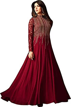 MONIKA SILK MILL Women's Georgette Embroidered Anarkali Salwar Suit Dress Materials (MSM_Maisha 4806, Maroon, Free Size)