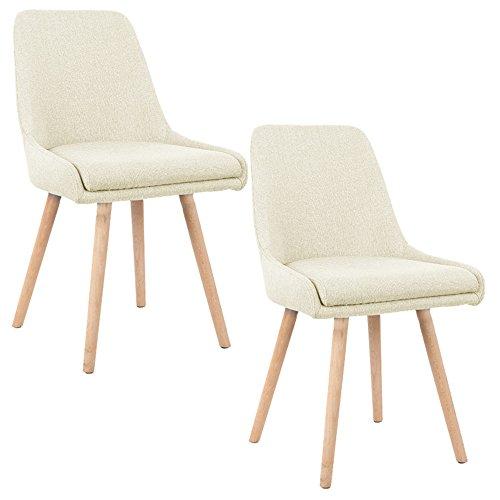 MCTECH® 2x Stuhl Esszimmerstühle Esszimmerstuhl Stuhlgruppe Konferenzstuhl Küchenstuhl Armlehne Büro mit Massivholz Eiche Bein (Type B, Beige) Wohnzimmer Mcqueen