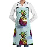 Drempad Delantal Pineapple Fruits Pineapples Pattern Adjustable Kitchen Chef Bib Apron with Front Pocket for Men Women