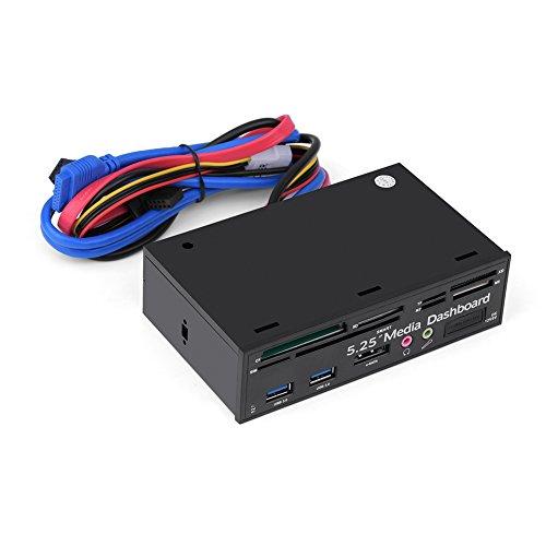 Asixx Computer Media Dashboard, 5,25 pollici PC Supporto multimediale multifunzione USB3.0 e-SATA Audio SIM/SMART Multi Card Reader Supporto Windows 2000/XP/Vista e Win7/8/9/10 Linux/MAC OS