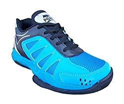 Port Mens Gripper Sky Blue Pu Badminton Shoes(Size 5 UK/IND)