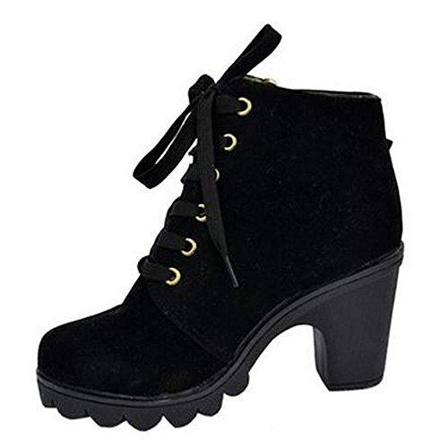 CRAVOG Weise Stiefeletten Schuhe Schnalle Hoch Plattform Stiefel Damenschuhe