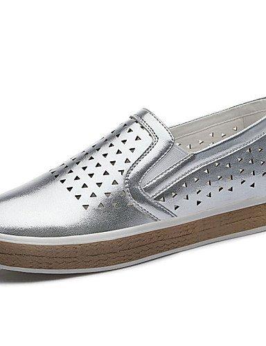 ShangYi gyht Scarpe Donna - Mocassini - Ufficio e lavoro / Formale / Casual / Serata e festa - Comoda - Piatto - Sintetico - Bianco / Argento Silver