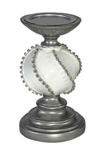 10780 Kerzenleuchter mitKristallsteinch aus Polyresin, Höhe 20 cm, weiß / silber