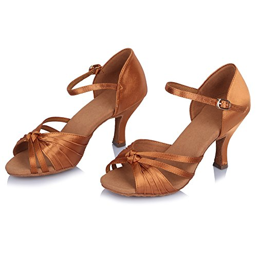 Hipposeus Femme Ballroom Chaussures De Danse / Chaussures Pour Salon De Danse / Chaussures De Danse Latine Standard Satin, Modèle-itaf802 Marron