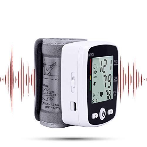 HS-WANG01 BP Englisch Stimme Manschette Handgelenk Blutdruckmessgerät Lithium-Batterie Blutdruckmessgerät Monitor Herzfrequenz Puls tragbares Tonometer BP,Weiß -
