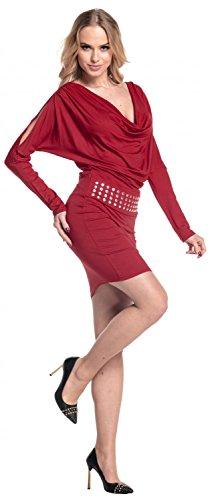 Glamour Empire. Donna Vestito aderente scollo drappeggio. Abito con borchie. 916 Crimson