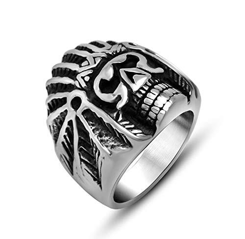 Aienid Ringe Männer Edelstahl Schwarzer Ring Indian Head Shappe Rings Punk Schwarzes Silber Ring Für Herren Size:67 (21.3)