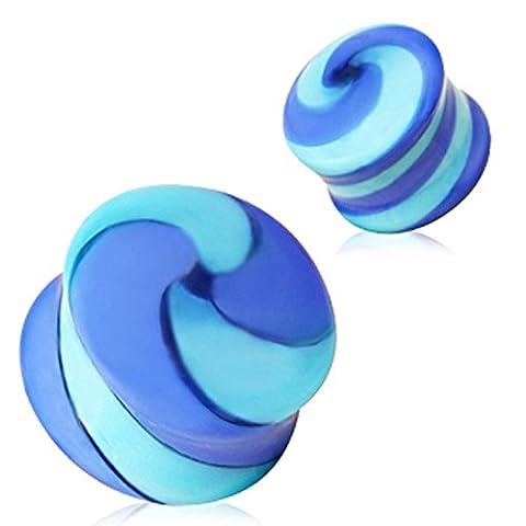 6 mm bleu et bleu clair Swirl verre selle boucle d'oreille plug Élargisseur