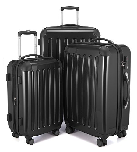 HAUPTSTADTKOFFER - Alex - Set de 3 pièces (55 cm, 65 cm, 75 cm), Valises rigides extensibles, Trolleys, TSA, 4 rudeas, Noir