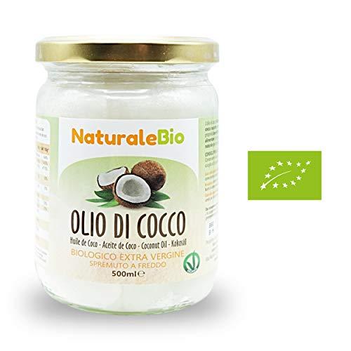 Aceite de coco extra virgen 500 ml - Crudo y prensado en frío - Puro y 100% biológico - Ideal para cabello, cuerpo y para uso alimentario - Aceite bio nativo no refinado - (NaturaleBio)