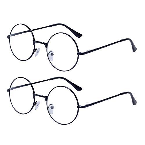 2 Stueck Damen Herren Lesebrille Rund Retro +2.0 (55-59 Jahre) Klar Linse Metall Rahmen Presbyopische Gläser Nerdbrille mit Etui