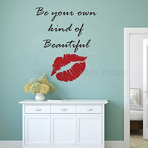 Frauen Red Lips ative Seien Sie Ihre eigenen Arten von schönen Wohnzimmer Schlafzimmer Removable Wall Stickers Murals 42X53cm -