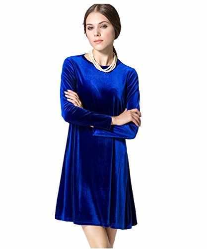 CrazySell Damen A-Linie Kleid Gr. Lable Medium/UK 10/EU 38, dunkelblau (Knit Flare Skirt)