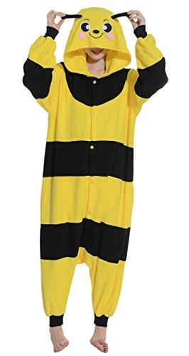 Fandecie Pigiama/costume onesie da adulti, tema: Ape Gialla, unisex, ideale per Halloween/cosplay/dormire/, per altezze da 160 a 175 cm - Medium